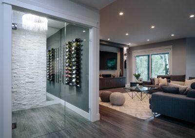 Alexandra Interiors contemporary custom wine cellar. Interior design Vancouver