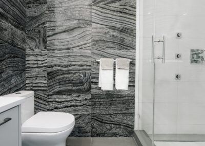 Alexandra Interiors luxurious contemporary monochromatic bathroom. Interior design Vancouver