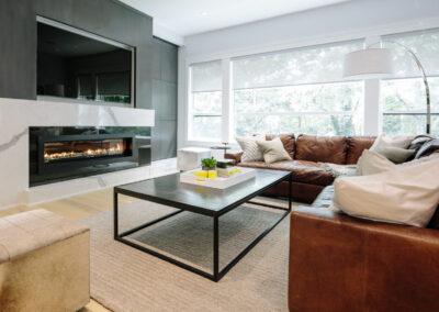 Alexandra Interiors contemporary family room with caramel leather sofa. Interior design Vancouver