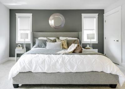 Alexandra Interiors luxurious contemporary master bedroom with linen tufted headboard. Interior design Vancouver