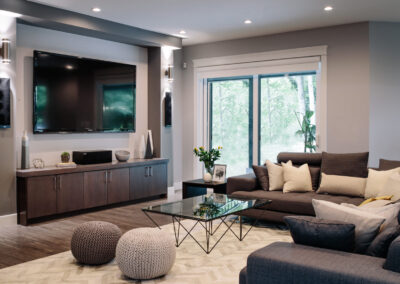 Alexandra Interiors contemporary monochromatic family tv room. Interior design Vancouver